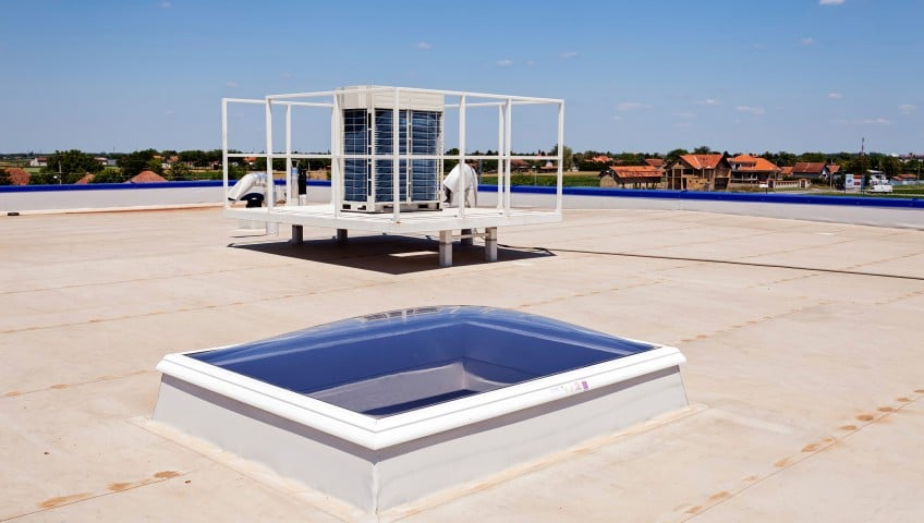 Flat roof on a commercial building