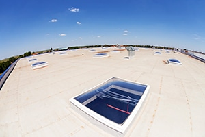 Flat Roof on an Industrial Hall with Multiple Skylights
