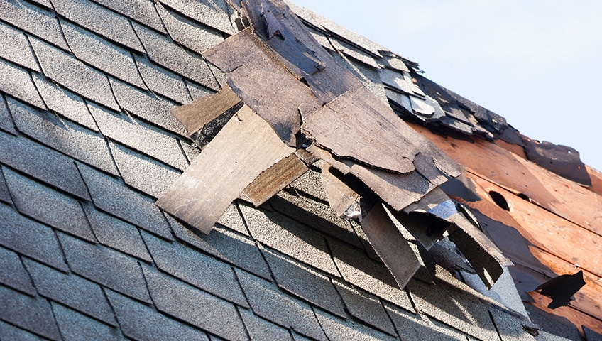 Roof shingle damage due to a storm